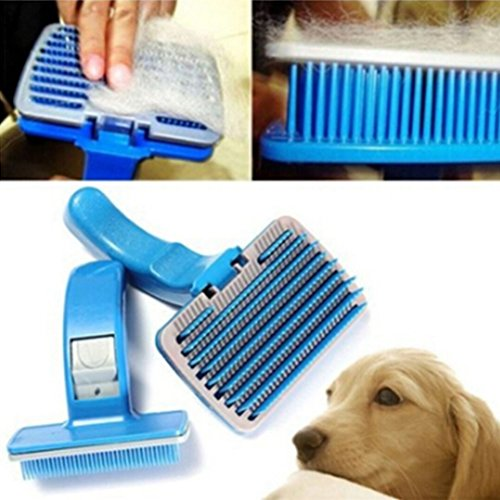 RENNICOCO - Cepillo para Pelo Corto para Perros y Gatos, Mascotas pequeñas, Cepillo de Silicona para Masaje y desintoxicación de baño sin Metal