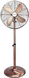 El ventilador retro de piso de oro rosa de 17 pulgadas, el silencioso ajuste de 3 archivos de ahorro de energía puede sacudir el acondicionador de ventilador de metal de cabeza