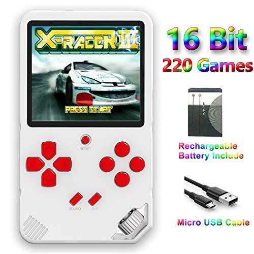 ZHISHAN Tragbare 16 Bit Handheld Spielkonsole für Kinder Retro Spiele Konsolen inkl. 220 Klassische Vintage Video Spielen 3.0