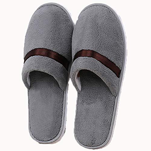AELEGASN 10 Pares De Zapatillas Desechables SPA Home Zapatillas Respirables Lavable Reutilizable Zapatos Unisex para Viajes De Hotel Baño, Invitados, Hogar, Bodas,Gris