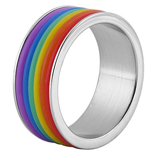 Anillo de arcoíris de acero inoxidable, anillo de orgullo LGBT para joyería...