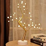 Auelife 20' Tabletop Bonsai Tree Light with 36 Pearls LED, DIY Artificial Light Tree Lamp Decoration for Gift Home Wedding Festival Holiday (Battery/USB Operated)