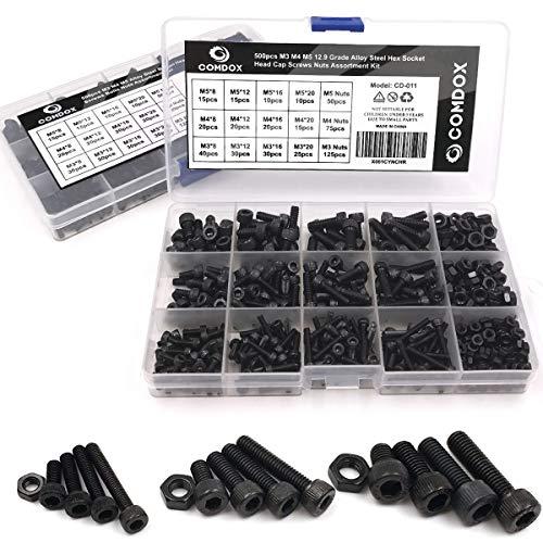 Comdox 500pcs Alloy Steel Socket Cap Screws Hex Head Bolt Nuts Assortment Kit with Box, M3 M4 M5 Thread Size, Black Oxide Finish