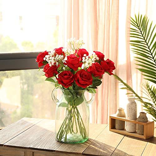 JUSTOYOU 10 Pack Künstliche Seide Rose Blumen Hochzeit Sträuße(rot) - 3