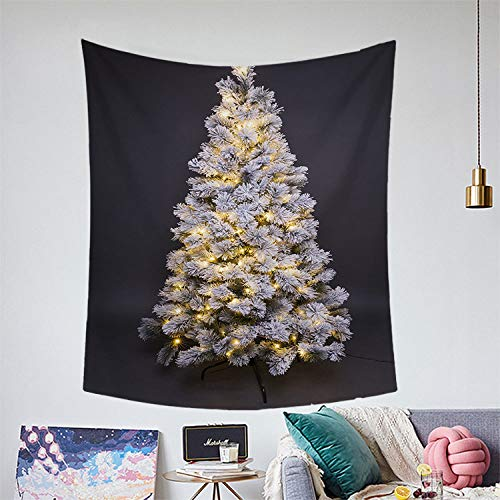 ZKORN Tapestry Wall Hanging,Tapestry Modern Gray Christmas Tree String Lights Print Beach Towel Yoga Mat Picnic Bed Sheet Blanket for Home Decoration Bedroom Living Room Dorm,3829Inch(9573Cm)