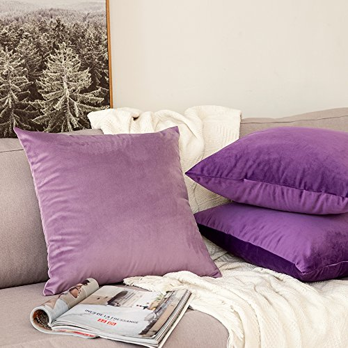 MIULEE Decorative Velvet Cushion Covers 45cm x 45cm/Square Throw Pillow Cases for Sofa Bedroom with Invisible Zipper 18x18 Inch Violet Sets of Two