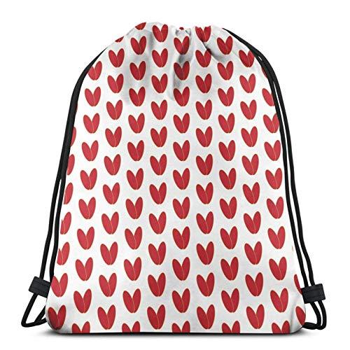 Lsjuee Mochila con cordón Red Love Hearts Canvas Bulk Sackpack para hombres Mujeres String Sports Gym Bag