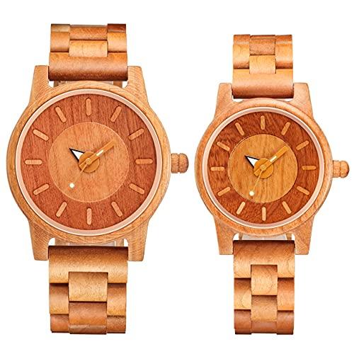 KUELXV Reloj de Pulsera de Madera Reloj de Pulsera de Pareja Relojes de Madera Mujeres Hombres Reloj de Moda de Cuarzo analógico para Parejas, Parejas