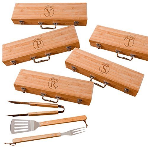 Best Bargain Personalized Grilling BBQ Set Circle Design with Bamboo Case - Personalized Grill Set (...