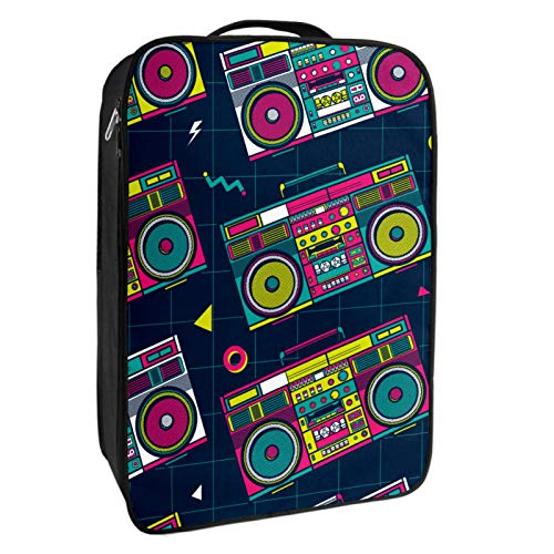 Colourful 80s Boombox Graphic Travel Bag with 4 Pockets