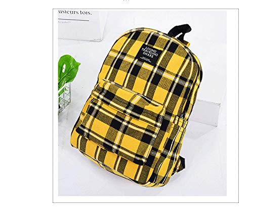 Plaid Leisure Backpack School Bags for Teenage Girls Plaid Canvas Female Student College Wind Bag Travel Outdoor Bag-Yellow
