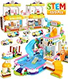 Friends Swimming Pool Party Toy Pool Building Set Toy House for Girls 6-12, 1375 Pcs Supermarket Creative Building Bricks Blocks Kit, STEM Learning Roleplay Gift Party Toy for Boy Girl Kid Toys