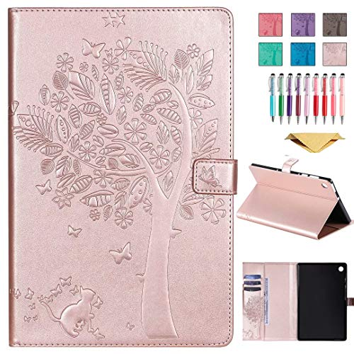 QYiD Leather Case for Galaxy Tab A 8.0 2019 (SM-T290/T295), Enbossed Design [CAT & Tree] PU Leather Book Folio Smart Cover with Stand for 8.0 Inch Galaxy Tab A SM-T290 SM-T295, RoseGold