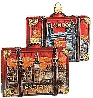 England London Suitcase Big Ben Tower Bridge Polish Glass Christmas Ornament Travel Souvenir