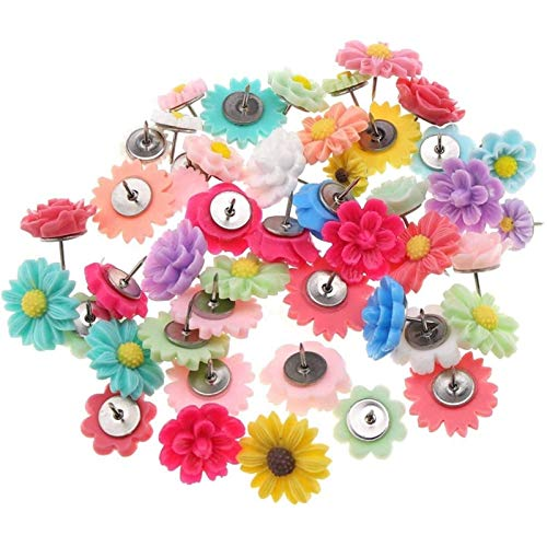 Pinezka 50 sztuk Multi-kolorowy metalowy żywiczny kwiat dekoracyjny zestaw pinezek na ściany drewniane tablice biuletynowe Cork Szeroko stosowany w biurze iw domu