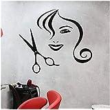 ウォールステッカーデカール ヘアサロンデコレーションウォールステッカーヘアサロンアートビューティーサロンネイリストマニキュアウーマンギフトカスタム65x57CM 壁画家の装飾