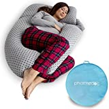 PharMeDoc Pregnancy Pillow with Travel & Storage Bag, U-Shape Full Body Pillow and Maternity Support with Detachable Extension -Stars Pattern- Support for Back, Hips, Legs, Belly for Pregnant Women