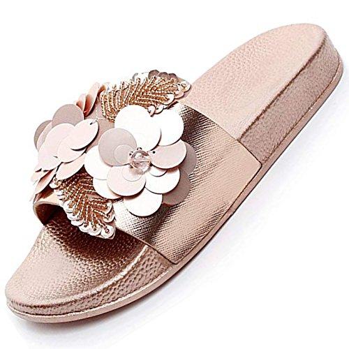 Pantoletten Damen Sommer Flach Bade Schlappen mit Blumen Strass Frauen Weiche rutschfest Strand Badeschuhe Gold Größe 41