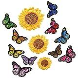 Xinjieda Mezcla de Animales Flor Parches Bordados Ropa de Bricolaje algodón Bordado Floral Placa de Insectos Patch Set