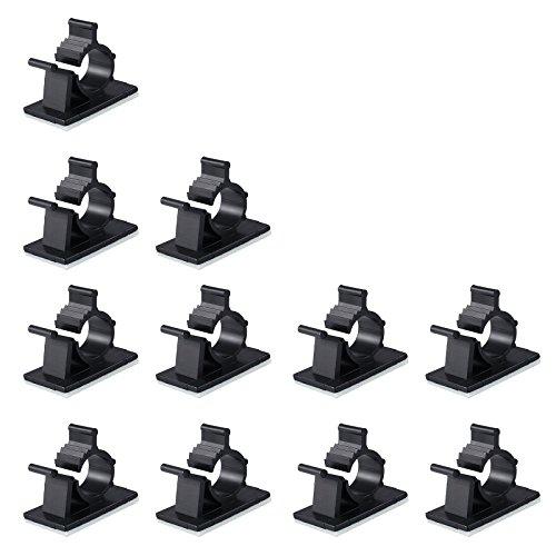 100 PCS Clips de Cable Abrazaderas Cables Autoadhesivas Clips de Alambre Ordenador Cable para Escritorios Mesas Paredes Muebles Automoviles