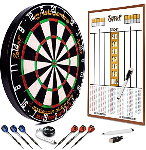 Professional Dart Board Set - Bristle/Sisal Tournament Dartboard with Complete Staple-Free Ultra Thin Wire Spider + 6 Steel Tip Darts + Darts Measuring Tape + Magnetic Double Sided Dart Scoreboard