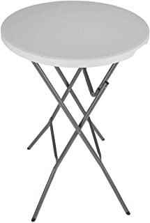 """Palm Springs 32"""" Round White Plastic 43"""" High Folding Bar Table with Cover (Black)"""