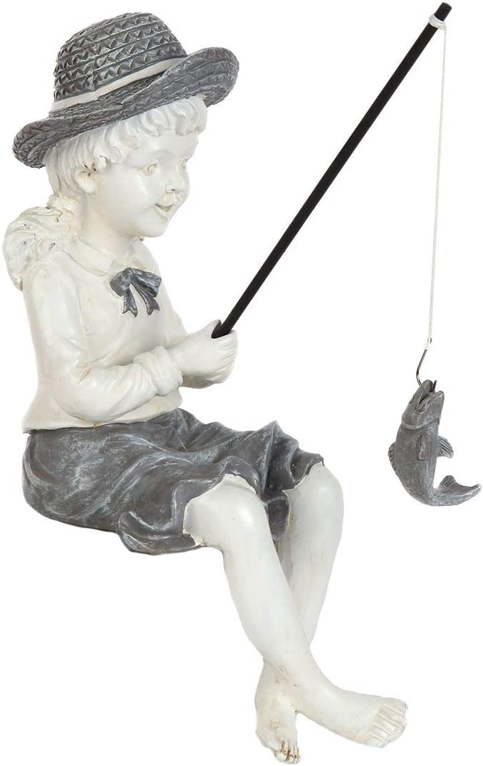 Lily's Manufacturer direct delivery Home Fishing Little Girl Under blast sales Statue Outdo Sitting Garden