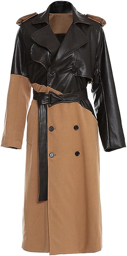 Women's Khaki Leather Large Size Long Trench Coat Lapel Long Sleeve Loose Trench Coat