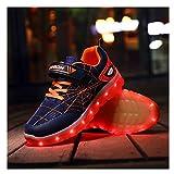 Tenis Con Luces,LED Zapatos Ligero Transpirable Bajo 7 Colores USB Carga Luminosas Flash Deporte De Zapatillas Con Luces Los Mejores Regalos Para Cumpleaños De Navidad, (26-37) dark blue-31