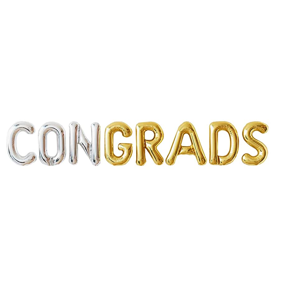 Graduation Decorations 2019 | Congrats Grads Balloon Banner for Grad Party | 16 inch Foil Balloons Silver and Gold | Graduation Party Supplies