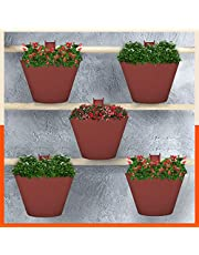 Patio by Bathla - Kai Hanging Oval Planters / Pots with Reinforced Hook, Fertiliser Ports and Drainage Notch | Anti-Fade and Weather Resistant (Terracotta - Set of 5)