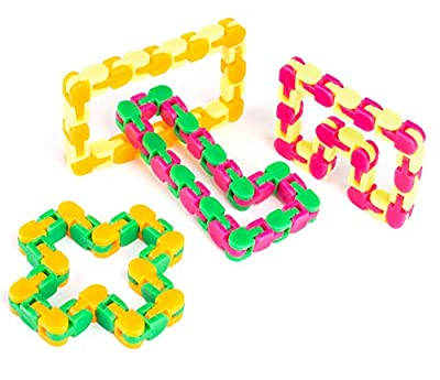 Neliblu Wacky Tracks Snap and Click Fidget Toys for Sensory Kids - Snake Puzzles, Assorted Colors, (Pack of 4) by Neliblu
