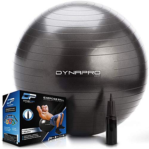 DYNAPRO Exercise Ball – Extra Thick Eco-Friendly & Anti-Burst Material Supports Over 2200lbs – Stability Ball for Home, Gym, Chair, Birthing Ball (Black, 75 Centimeters)