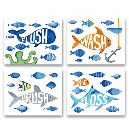 """XUN Watercolor Ocean Fish Bathroom Art Print-Flush Floss Wash Brush Quote Canvas Wall Art-(8""""X10""""X4 Pieces, Unframed)-Perfect for Baby Washroom Decoration"""