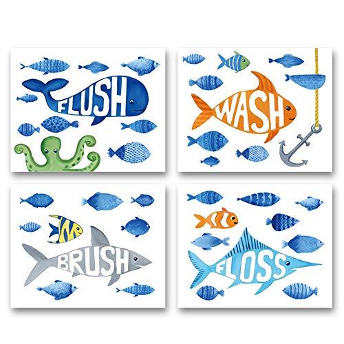 "Watercolor Ocean Fish Bathroom Art Print--Flush Floss Wash Brush Quote Canvas Wall Art--(8""X10""X4 pcs, Unframed)--Perfect for Baby Washroom Decor"
