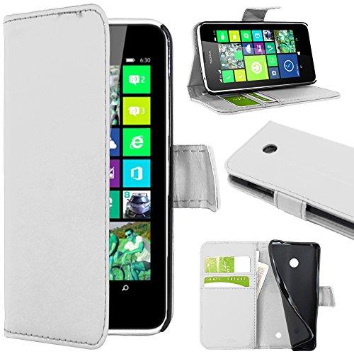 ebestStar - Coque Compatible avec Nokia Lumia 630 Etui PU Cuir Housse Portefeuille Porte-Cartes Support Stand, Blanc [Appareil: 129.5 x 66.7 x 9.2mm, 4.5'']