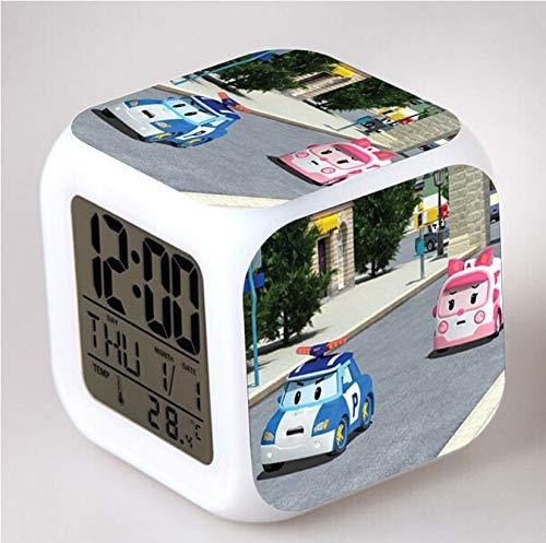 HHIAK666 Reloj Despertador Polly Coche De Policía Transform