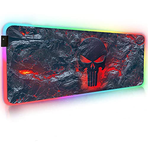 NJHX RGB Gaming Mouse Pad, Large Extended Soft Led Mouse Pad with 14 Lighting Modes,Touch Control Waterproof Cloth Surface Anti-Slip Rubber Base for Large Computer Keyboard Mouse Mat(31.5x11.8In)