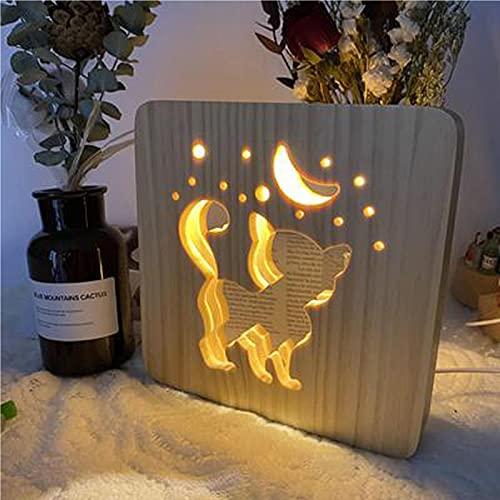 Lámpara de noche de madera con animales para niños, lámpara de mesa, luces nocturnas, para niños, guardería, luces nocturnas, accesorio de sueño, cuidado de los ojos, regalos creativos para el hogar