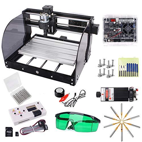 7W Láser Actualizado CNC 3018 Pro-M GRBL Controlar DIY Máquina de Grabado CNC con Placa Protegida, Yofuly 3 Ejes PCB PVC área de Trabajo 300x180x45mm con Varilla de Extensión Juego de Pinzas ER11