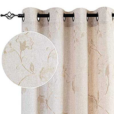 "jinchan Linen Textured Curtains for Living Room Long Embroidered Design Window Curtains Privacy Flax Linen Look Window Treatment Set for Bedroom Grommet Top 2 Panels 72"" Beige"