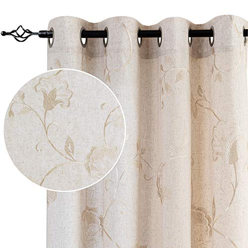 jinchan Linen Textured Curtains for Living Room Long Embroidered Design Window Curtains Privacy Flax Linen Look Window Treatment Set for Bedroom Grommet Top 2 Panels 95' Beige