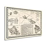 Historix Vintage 1893 Map of Hawaii - 16x24 Inch Vintage Map of Hawaiian Islands Wall Art - Hawaii Vintage Map Includes Text and Statistical Data - Vintage Map Hawaii - Hawaii Map Poster (2 sizes)