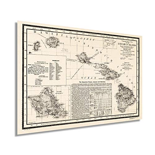 Historix Vintage 1893 Map of Hawaii - 24x36 Inch Vintage Map of Hawaiian Islands Wall Art - Hawaii Vintage Map Includes Text and Statistical Data - Vintage Map Hawaii - Hawaii Map Poster (2 sizes)