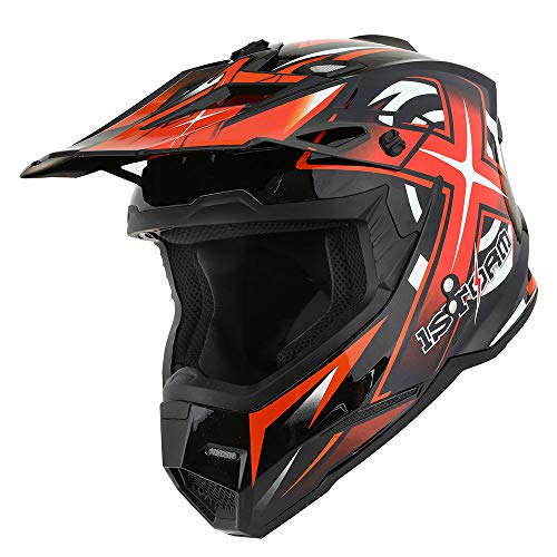 1Storm Adult Motocross Helmet BMX MX ATV Dirt Bike Helmet Racing Style HF801; Carbon Fiber Black