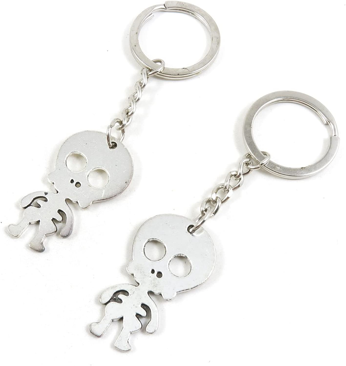 150 Pieces Fashion Jewelry Keyring Keychain Door Car Key Tag Ring Chain Supplier Supply Wholesale Bulk Lots P7YR5 Cute Catoon Skeleton Skull