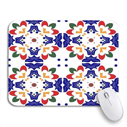 Gaming Mouse Pad Zusammenfassung Mexikanische Talavera Fliesen und indische Muster Arabesque Ethnic Non-Slip Rubber Backing Mousepad für Notebooks Computer Maus Matten