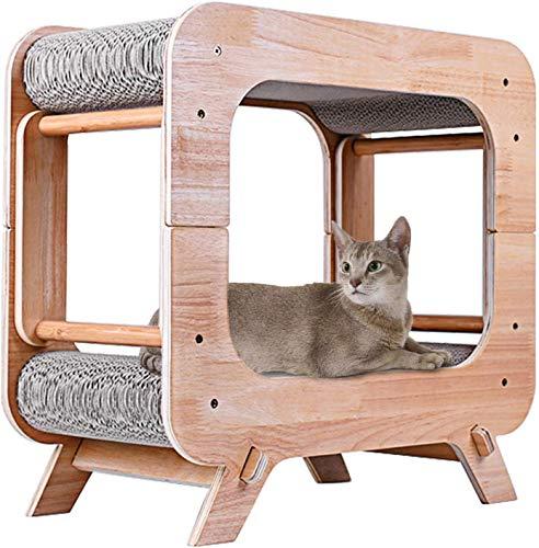 JR Knight Katzen Kratzbrett Kratzmöbel Kratzpappe Katzenhaus für Katzen Spielhaus mit Kratzbrett Kratzlounge Katzenspielzeug aus Recycelbares Kratzpappe für kleine mittlere Haustiere 51x26x49 cm