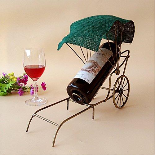 LL-COEUR Porte-Bouteille Décoration Casier à Vin Original Support pour Bouteille Sculpture en Fer Artisanat Rickshaw Idée Cadeau (Vert foncé)