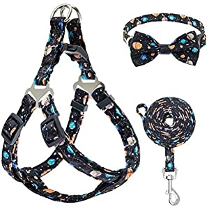 PUPTECK Dog Harness and Leash Collar Set – Adjustable and Soft No Pull Dog Harness, Bowtie Dog Collar for Small Puppy Dogs, Step in Puppy Halter Vest Harness with Galaxy Planet Pattern